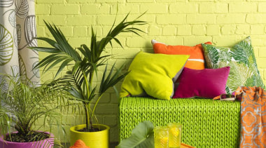 Embrace Nature chair, couch, flowerpot, furniture, green, interior design, living room, table, wall, wallpaper, yellow, yellow, brown