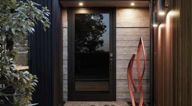 Stylish and sleek, the flush glazed door will door, home, window, black