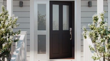 The classic look of a recessed panel door door, home, window, gray