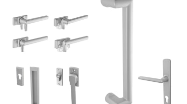 Stylish aluminium hardware that can be colour-matched to angle, door handle, hardware, hardware accessory, product, white