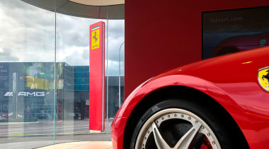 Ferrari Showroom 1 - alloy wheel   auto alloy wheel, auto part, automotive design, automotive exterior, automotive lighting, automotive tire, automotive wheel system, car, fender, mode of transport, motor vehicle, red, rim, tire, vehicle, vehicle door, wheel, red