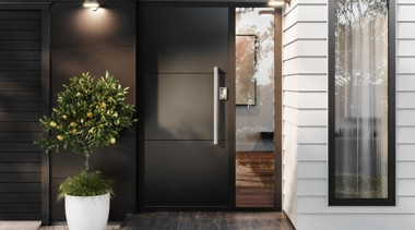 Versatile flush panel doors offer a more contemporary door, black