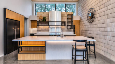Cinderblock and character steel elements give this kitchen