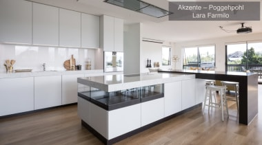 Highly Commended – Akzente/Poggenpohl Lara Farmilo – Tida countertop, cuisine classique, floor, interior design, kitchen, real estate, gray, white
