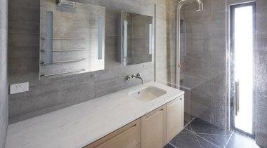 Highly Commended – Rachel Barnes Ingrid Geldof Design bathroom, floor, flooring, home, interior design, property, room, sink, tile, gray
