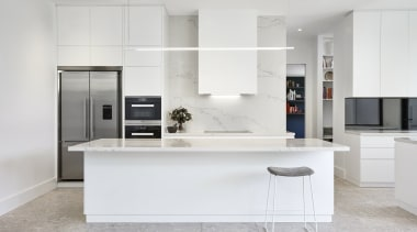 Highly Commended – Lsa Architects cabinetry, countertop, cuisine classique, floor, interior design, kitchen, gray, white