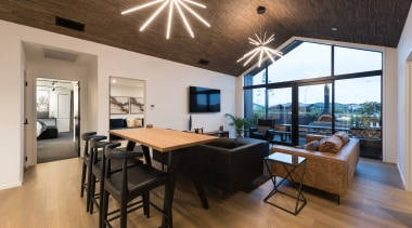 The main living space extends out to an