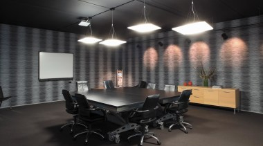 Below Fabbian Lighting chose hanging pendant lights to architecture, ceiling, conference hall, interior design, office, black