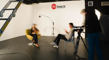 Above right The Trends TV studio is custom technology, black, white