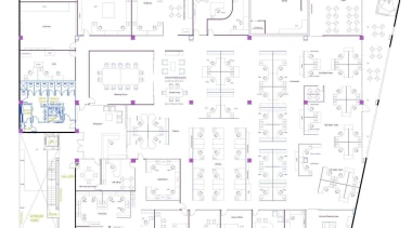 Office Design Group laid out the work spaces area, design, diagram, drawing, floor plan, font, line, plan, purple, text, white