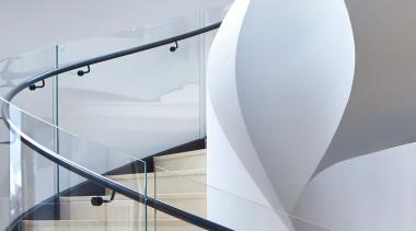 Killara 01 - architecture   design   glass architecture, design, glass, handrail, interior design, lighting, line, material property, metal, stairs, white, gray