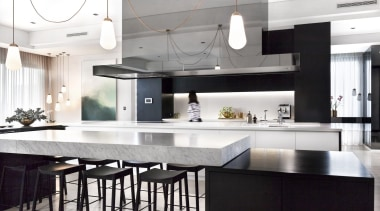 Leon House Design – Highly Commended – 2018 countertop, cuisine classique, interior design, kitchen, white, black