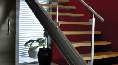 Make A Feature architecture, baluster, floor, glass, handrail, interior design, stairs, red, gray