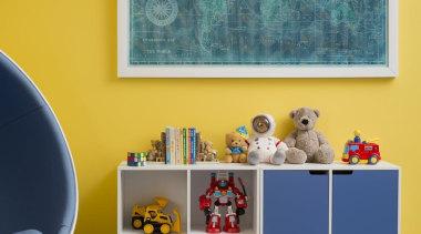 Childrens Bedroom - blue | furniture | interior blue, furniture, interior design, living room, paint, room, shelf, table, wall, orange, teal