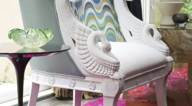 French classic-style residence by Massimo Interiors chair, furniture, product, purple, shoe, table