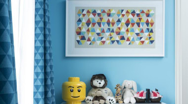 Kids Bedroom - blue | interior design | blue, interior design, product, room, shelf, shelving, wall, yellow, teal, white