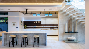 ​​​​​​​This long, linear Poggenpohl kitchen, precision tweaked and architecture, ceiling, countertop, interior design, kitchen, lobby, gray, marble, concrete, marble benchtop
