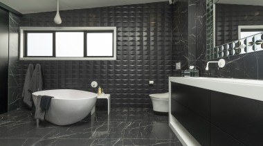 Given a large space for this master ensuite, bathroom, black, countertop, floor, flooring, interior design, room, tile, wall, black