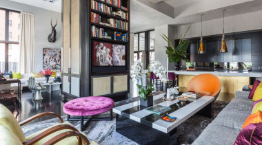 For the design of his own New York home, interior design, living room, real estate, room, gray