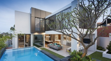 Playtime – sprawling indoor living spaces flow uninterrupted apartment, architecture, condominium, estate, facade, home, house, interior design, property, real estate, swimming pool, villa, gray
