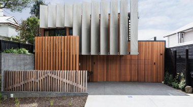 A fence depicting Mt Taranaki provides an excellent architecture, facade, house, home, Boon Team Architects, privacy