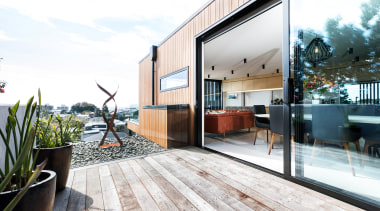 One of three decks on this home, the apartment, architecture, home, house, interior design, property, real estate, white