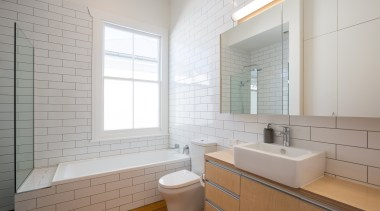 For this new bathroom in a traditional villa architecture, bathroom, timber floor, basin, subway tile, bathroomware,  Chris Holmes, CAAHT Studio Architects