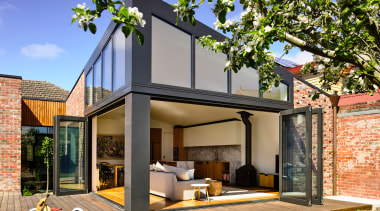 To match the existing home's cladding, recycled clinker architecture, backyard, home, house, property, residential area, brick extension, renovation, deck, extension, bifold windows,  porter architects
