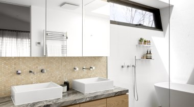 Square basins, a honeycomb mosaic splashback, a chunky architecture, bathroom, vanity, vanity top, floor, flooring, plumbing fixture, sink, tap, tile, wall, white, McMahon & Nerlich, stone benchtop
