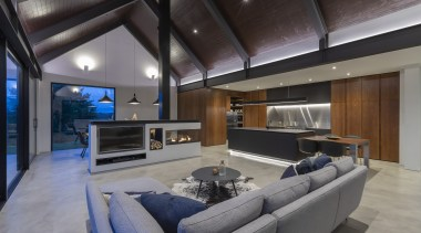 ​​​​​​​Having a lowered ceiling helps give this kitchen architecture, fireplace, gas fire, heating, ceiling, design, furniture, furnshings, home, nterior design, lighting, living room, Cube Dentro