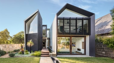 While this new home currently houses a family architecture, two wing, family home, home, house, interior design, landscaping