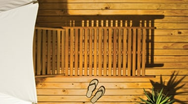 Resene Furniture And Decking Oil baluster, wood, wood stain, orange, brown