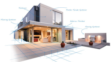 Rockcote Resene Header Hero architecture, elevation, facade, home, house, product design, property, real estate, white, gray, orange, brown, teal, red