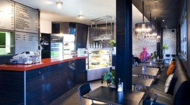 Yellowfox designed the upgrade of Café Trends, using countertop, interior design, kitchen, real estate, blue