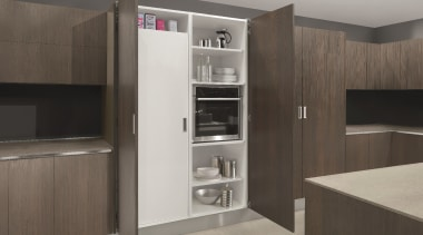 Salice Eclipse Pocket Doors are ideal for when cabinetry, furniture, home appliance, interior design, kitchen, gray, black
