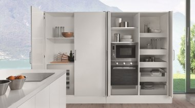 Salice Eclipse Pocket Doors are ideal for when furniture, kitchen, shelf, shelving, gray