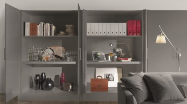 Salice Eclipse Pocket Doors are ideal for when bookcase, furniture, interior design, shelf, shelving, gray