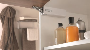 Salice's Wind is an elegant, unobtrusive overhead lift bathroom, floor, furniture, product, room, shelf, tap, gray
