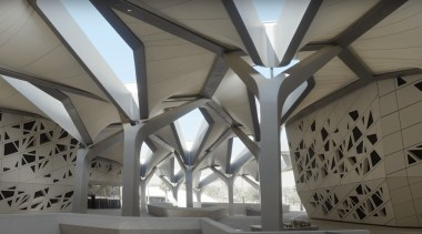 The inside of the research center features futuristic, architecture, ceiling, daylighting, structure, symmetry, tourist attraction, gray