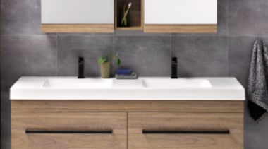Soft basin corners and thick external lines give bathroom, bathroom accessory, bathroom cabinet, bathroom sink, countertop, floor, furniture, hardwood, interior design, plumbing fixture, sink, tap, tile, wall, gray