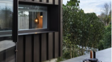Ironsand, Mt Eden - Tray - architecture | architecture, facade, house, outdoor structure, patio, black