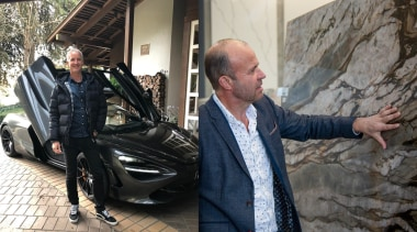 Morgan Cronin (left) and Shane George (right) – automotive design, car, compact car, executive car, luxury vehicle, personal luxury car, sports car, supercar, vehicle, vehicle door, black, gray