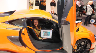 Eliska Lewis - auto show | automotive design auto show, automotive design, car, concept car, land vehicle, mclaren automotive, mclaren mp4-12c, mclaren p1, sports car, supercar, vehicle, vehicle door, orange, black