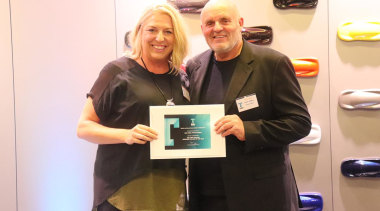 Kira Gray and David Johnson - award | award, electronic device, event, gadget, smile, technology, white