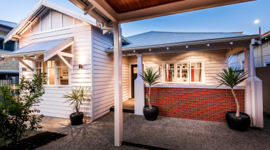 The owner of this original 1940s workers cottage architecture, building, cottage, courtyard, estate, facade, home, house, interior design, lighting, patio, porch, property, real estate, residential area, roof, room, siding
