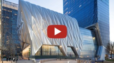The Shed video button - architecture | building architecture, building, city, commercial building, company, convention center, corporate headquarters, facade, headquarters, metropolitan area, mixed-use, white