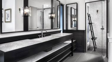 2018 TIDA Australia Designer Bathroom Winner – Leon bathroom, black and white, floor, flooring, interior design, room, white, black
