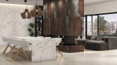 Universal Granite And Marbles Showroom 2 floor, flooring, furniture, interior design, laminate flooring, living room, table, tile, wall, wood, wood flooring, gray