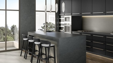 Universal Granite And Marbles Showroom 5 - cabinetry cabinetry, countertop, cuisine classique, floor, flooring, furniture, interior design, kitchen, table, black, gray