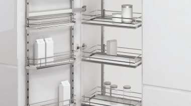 The VS TAL Gate Pro pull out larder bathroom accessory, black and white, display case, furniture, product, shelf, shelving, white, gray